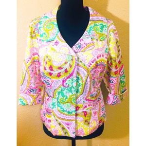 3 Sisters paisley print lined cropped blazer